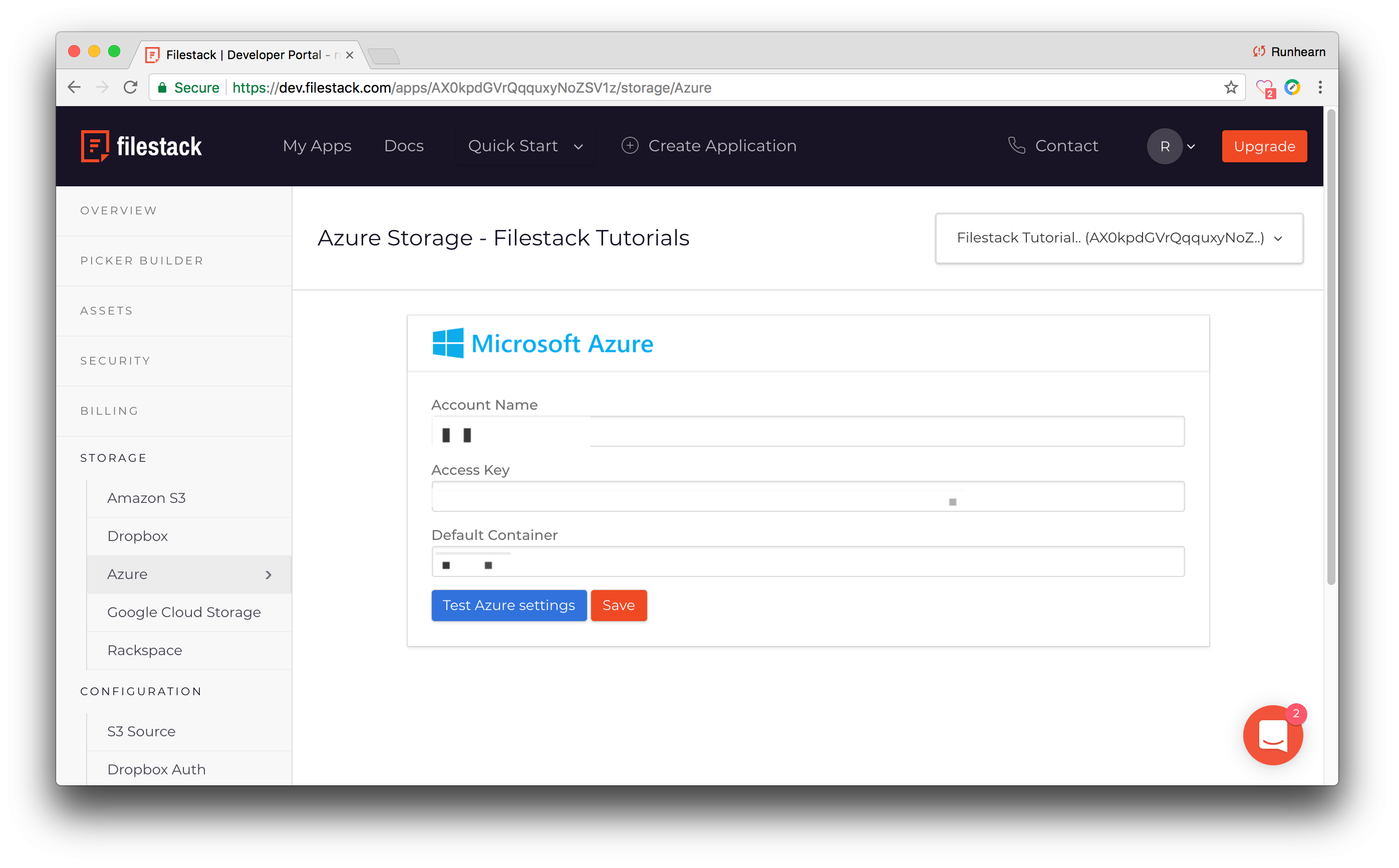 Screenshot showing the Azure section of the Filestack portal