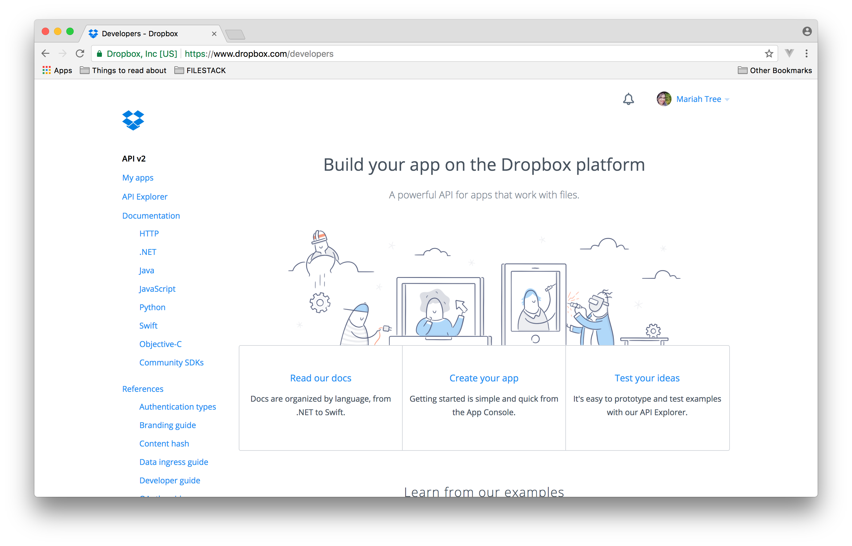 Screenshot showing the Dropbox developers home screen