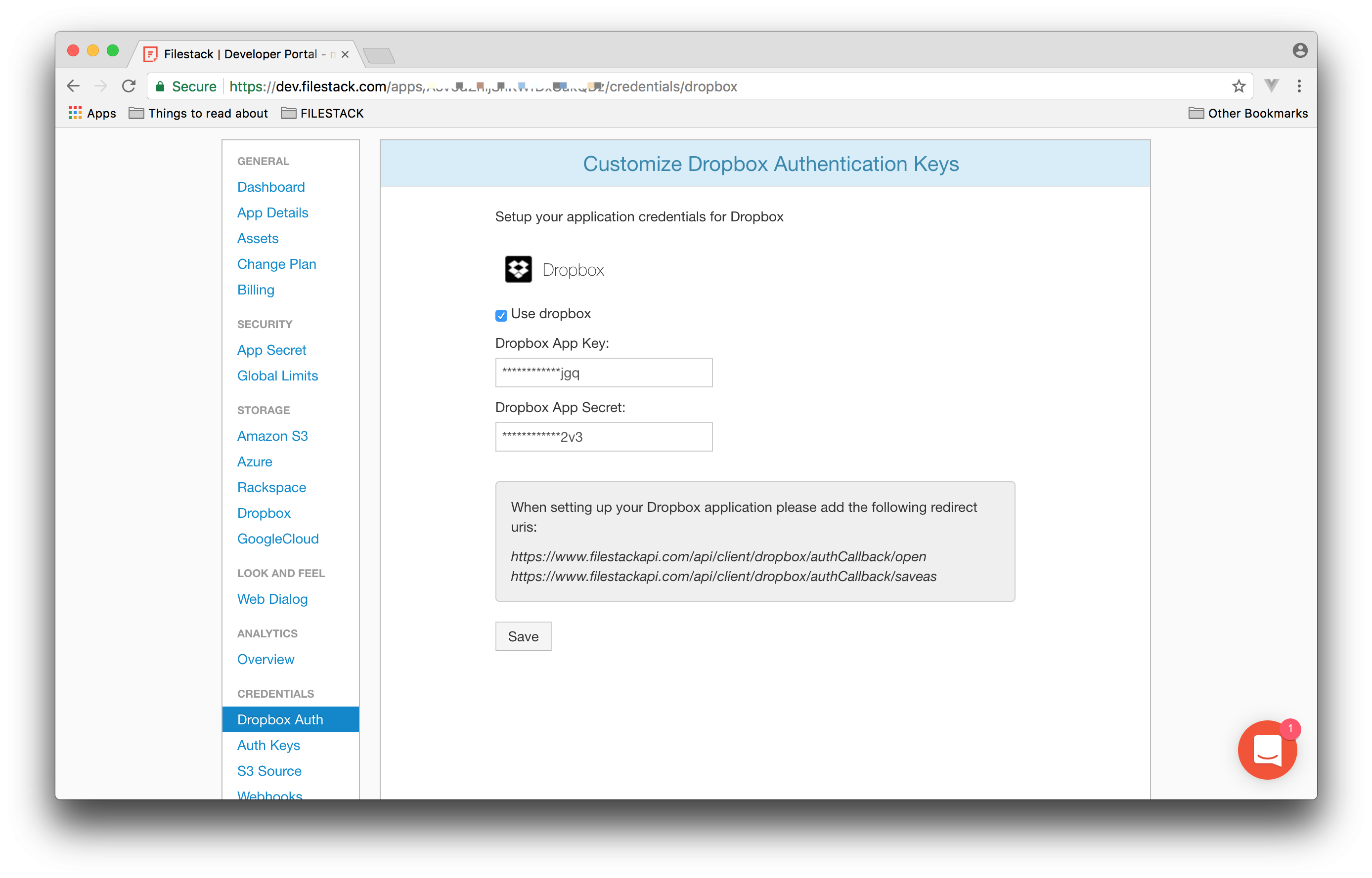 Screenshot showing placement of Dropbox keys in Filestack Developler Portal