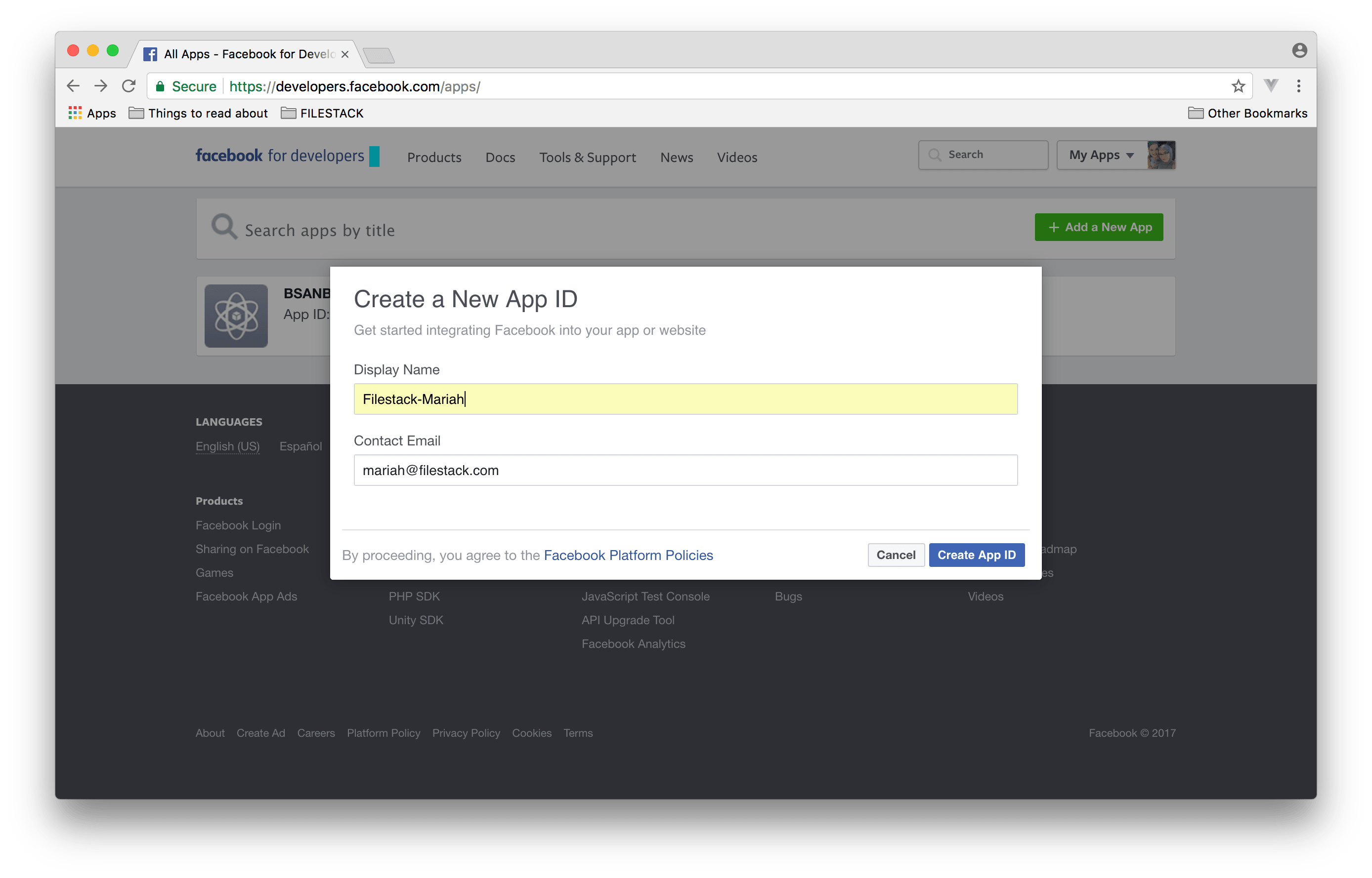 Screenshot showing Create a New App Id step in Facebook for Developers