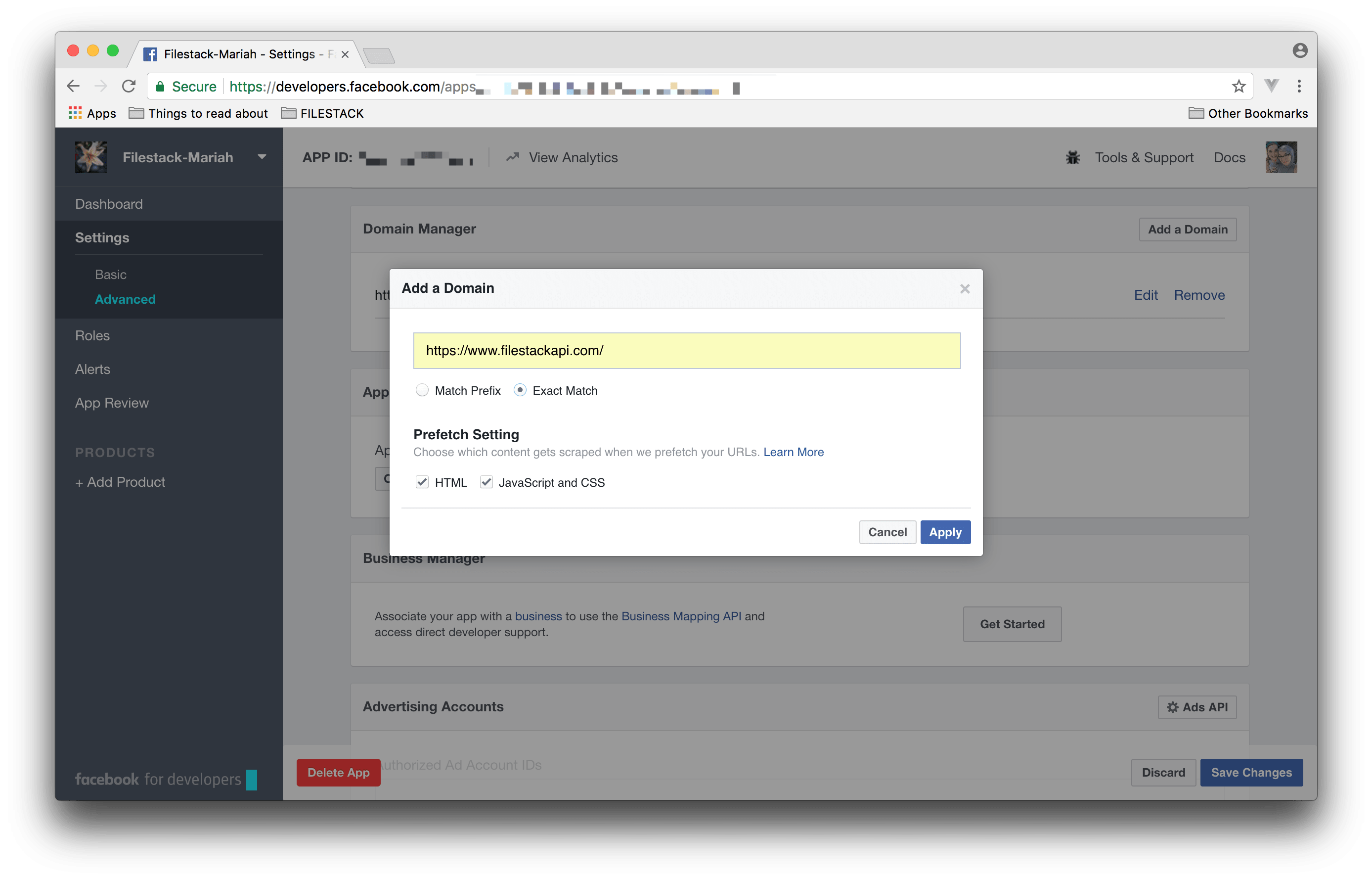 Screenshot showing Add a Domain step in Facebook for Developers