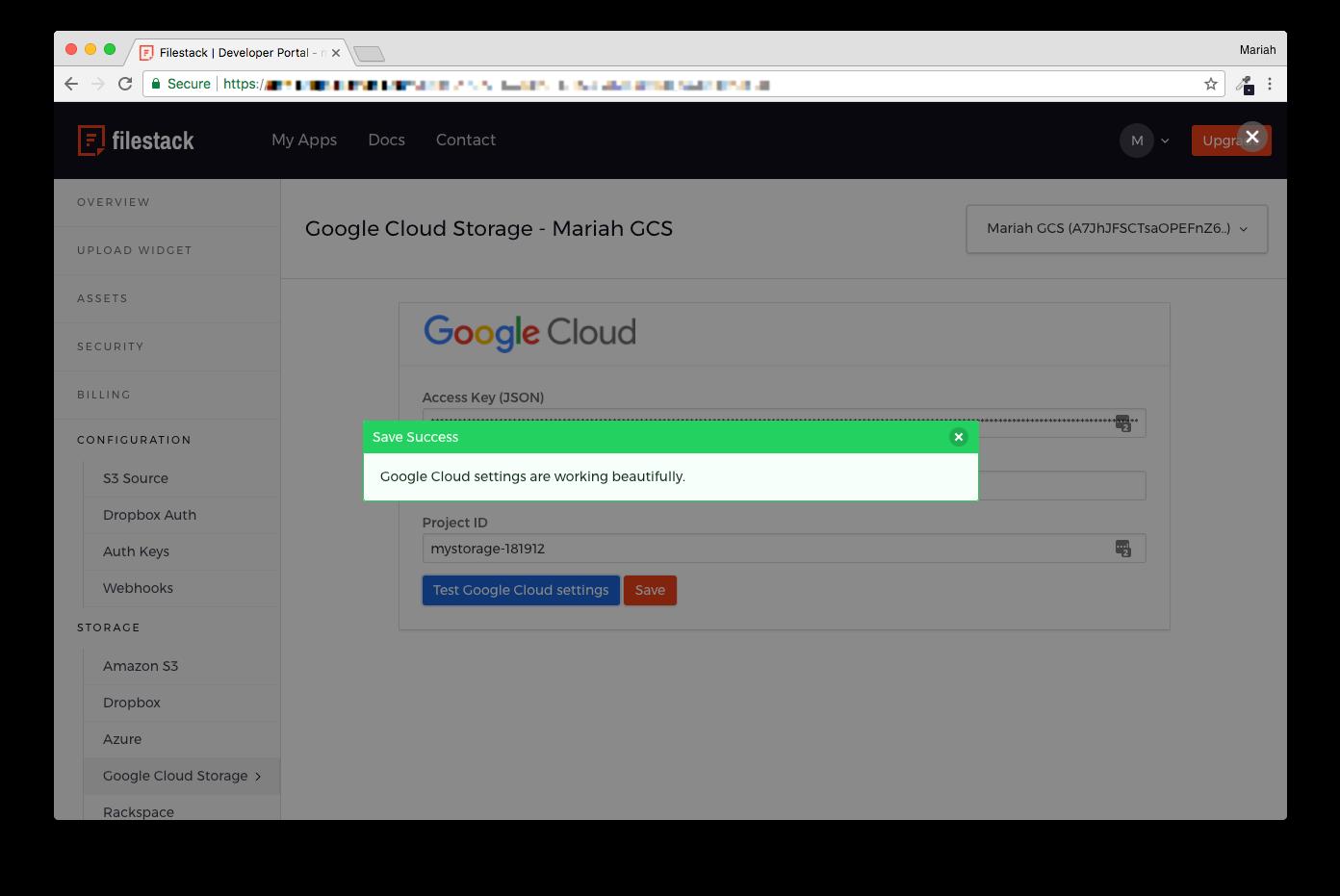 Screenshot showing entry of GCS credentials into Filestack Developer Portal