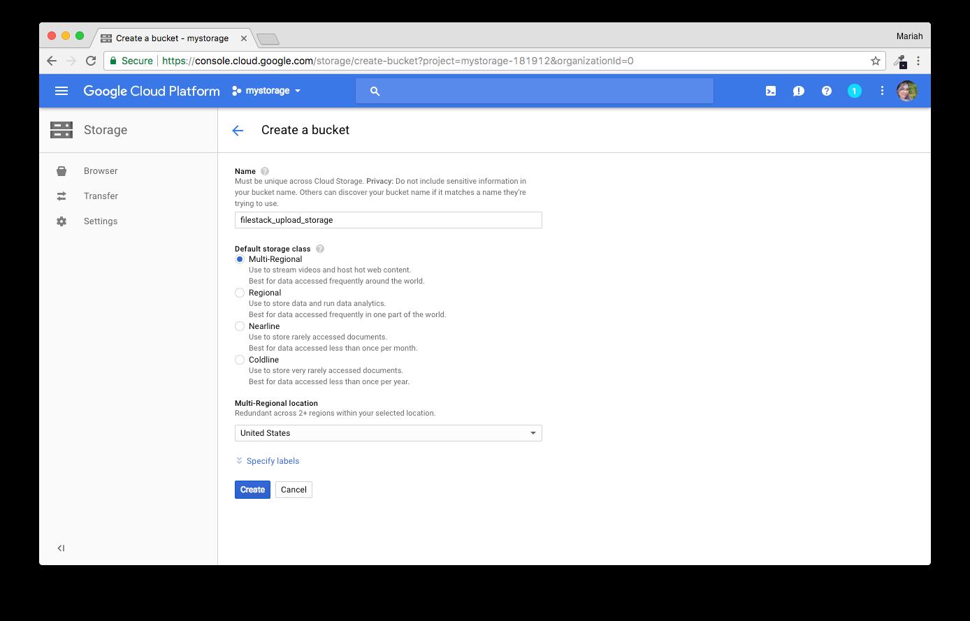 Screenshot showing GCS bucket configuration for Filestack