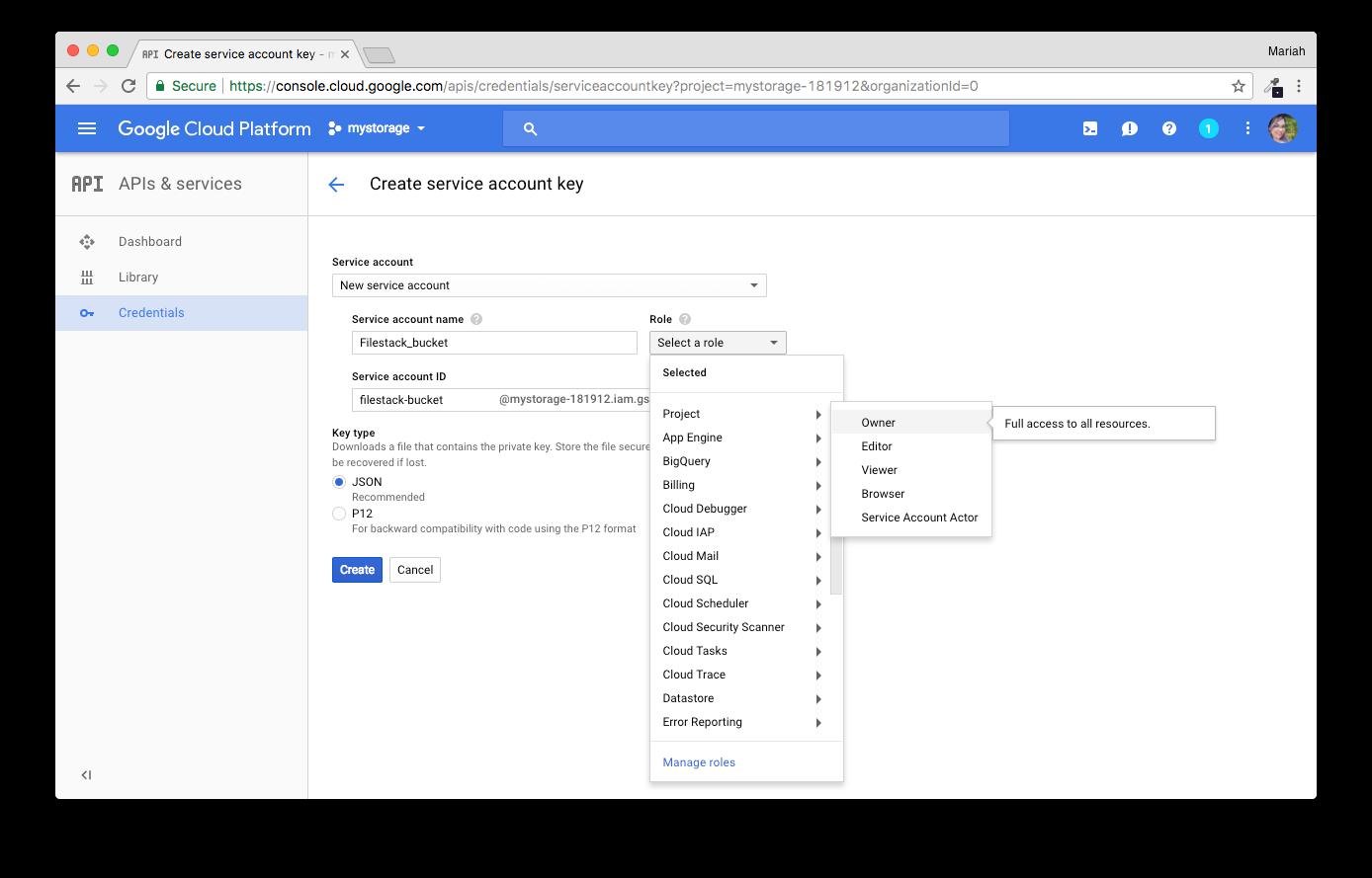 Screenshot showing GCS Service account key creation