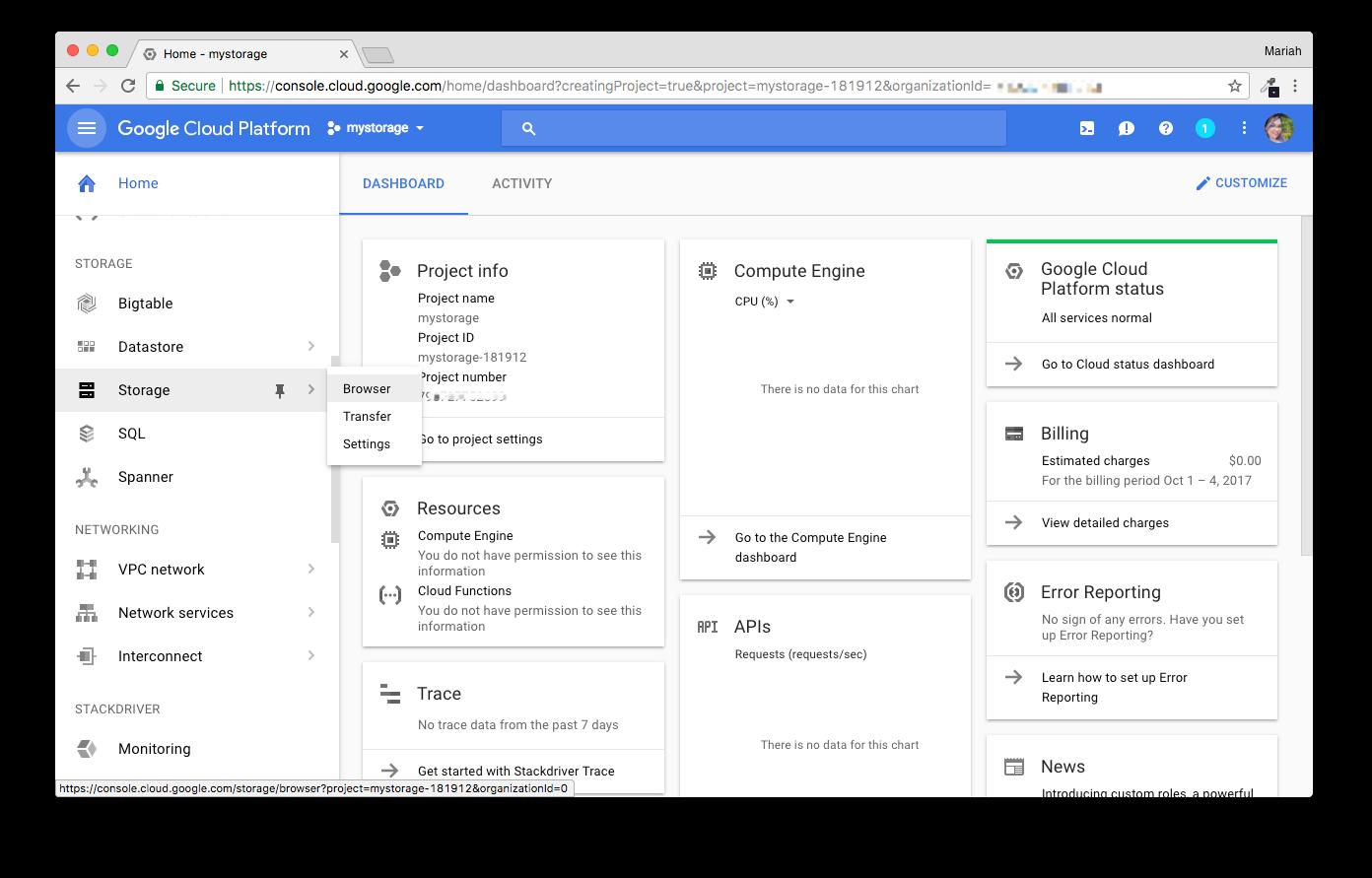 Screenshot showing navigation to GCS storage