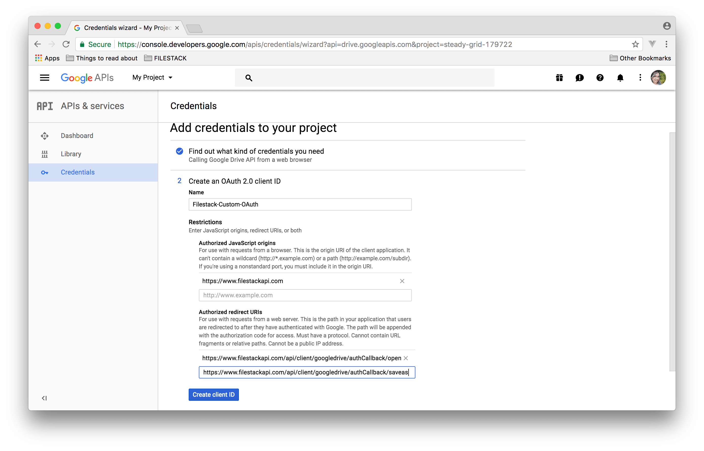 Screenshot showing Credentials step in Google API Console