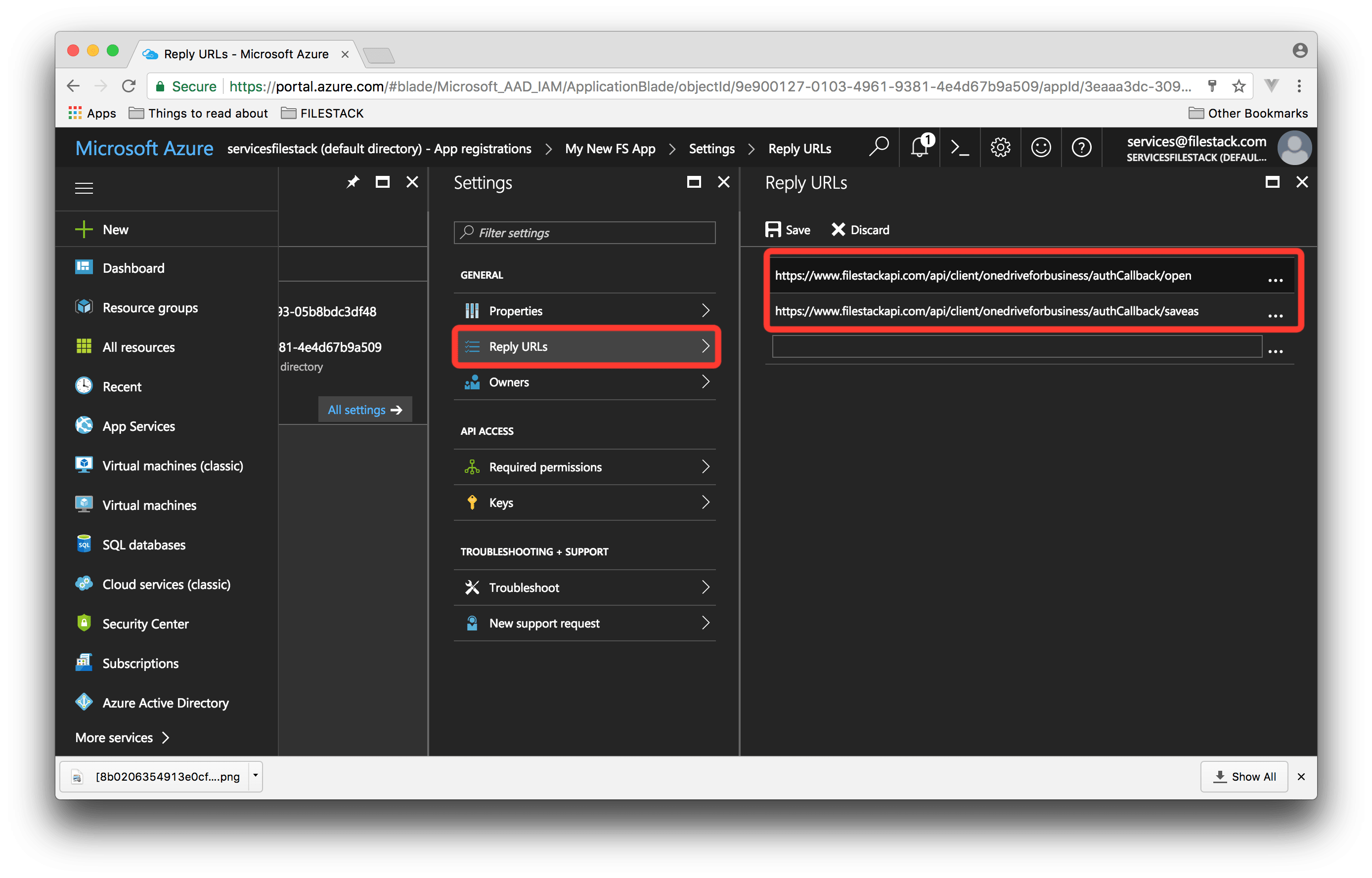 Screenshot showing Microsoft Azure Reply URLs
