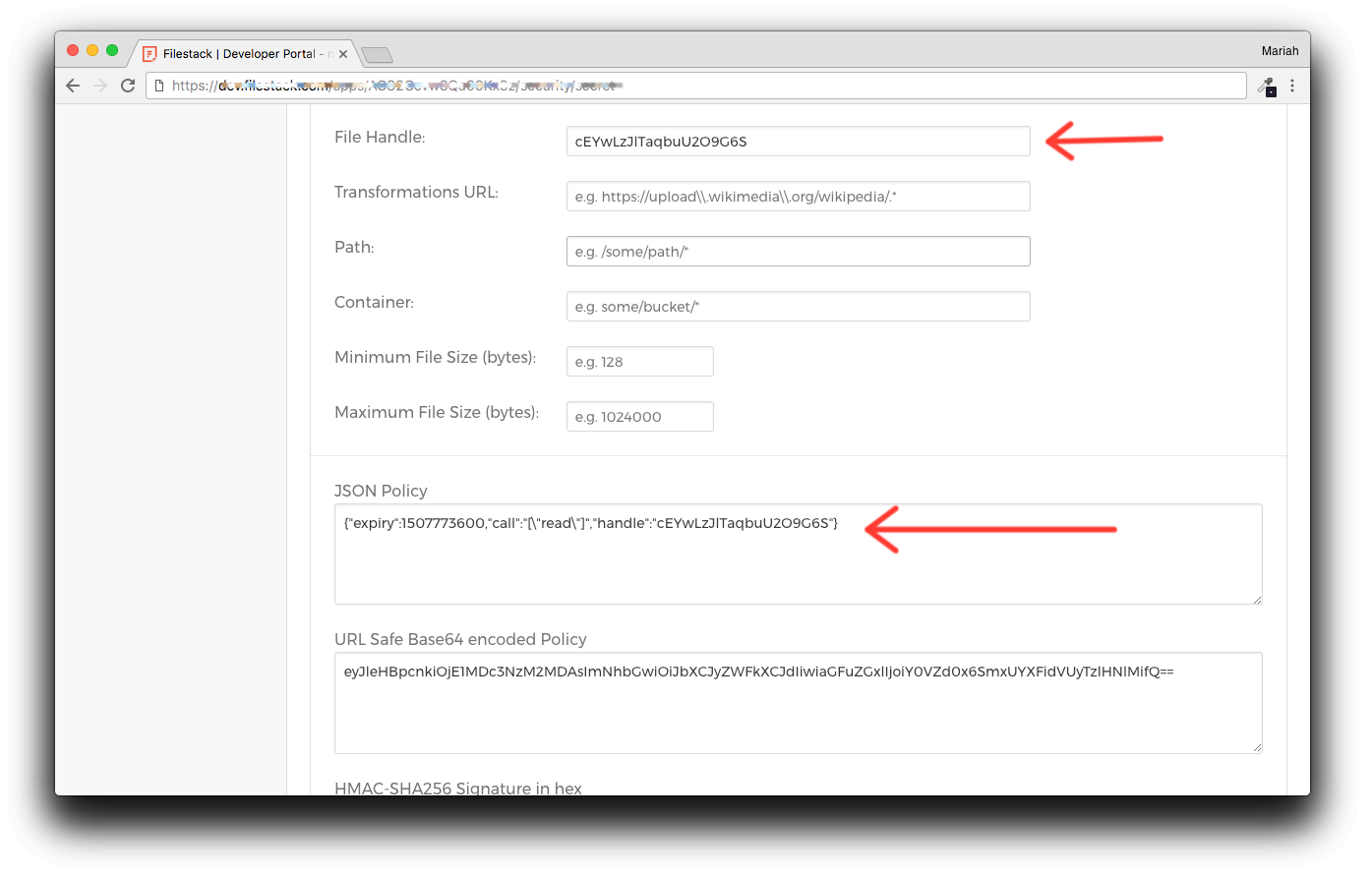 Screenshot showing Filestack security developer portal