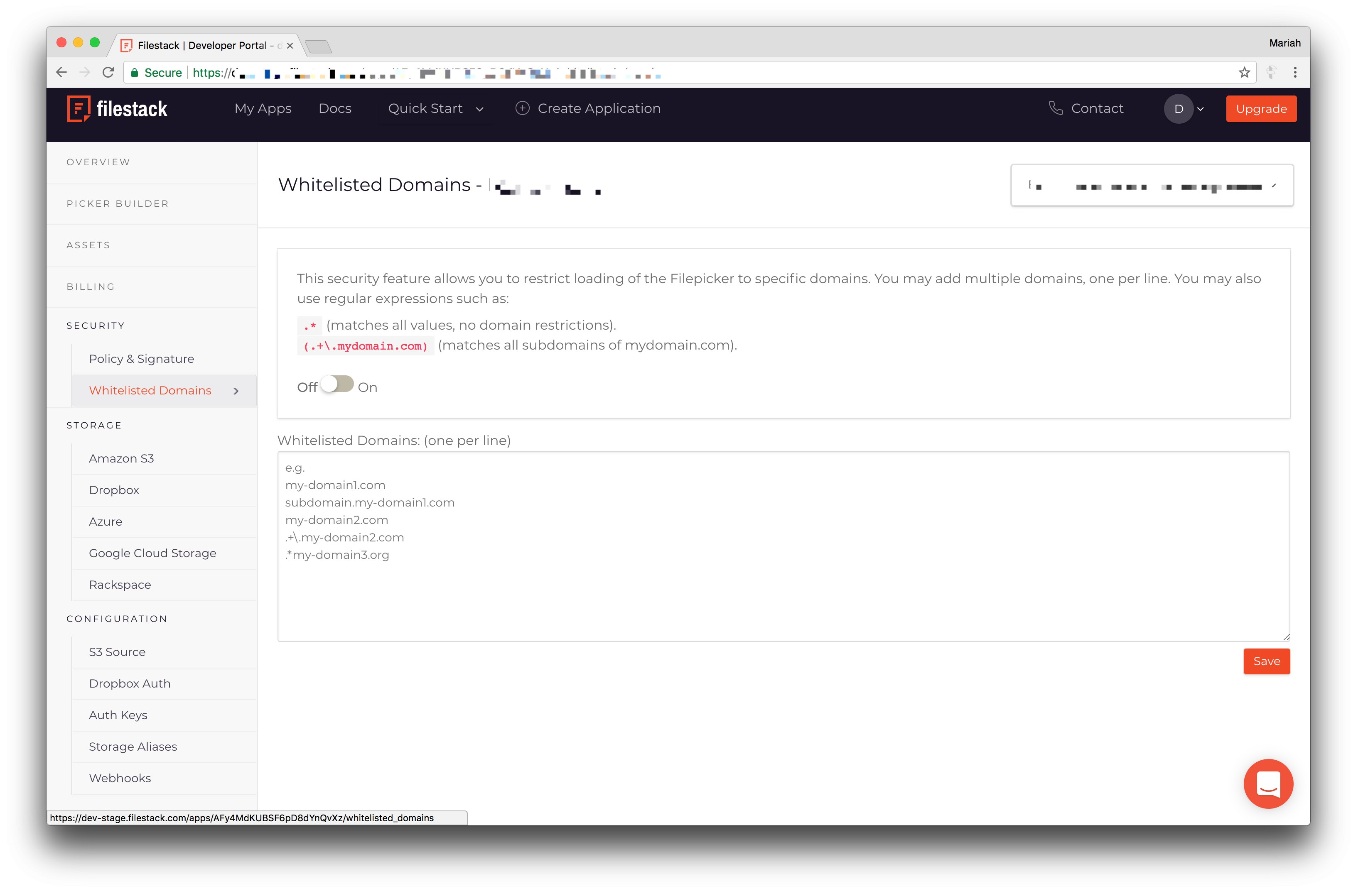 Screenshot showing Filestack Developer Portal Whitelist Domains